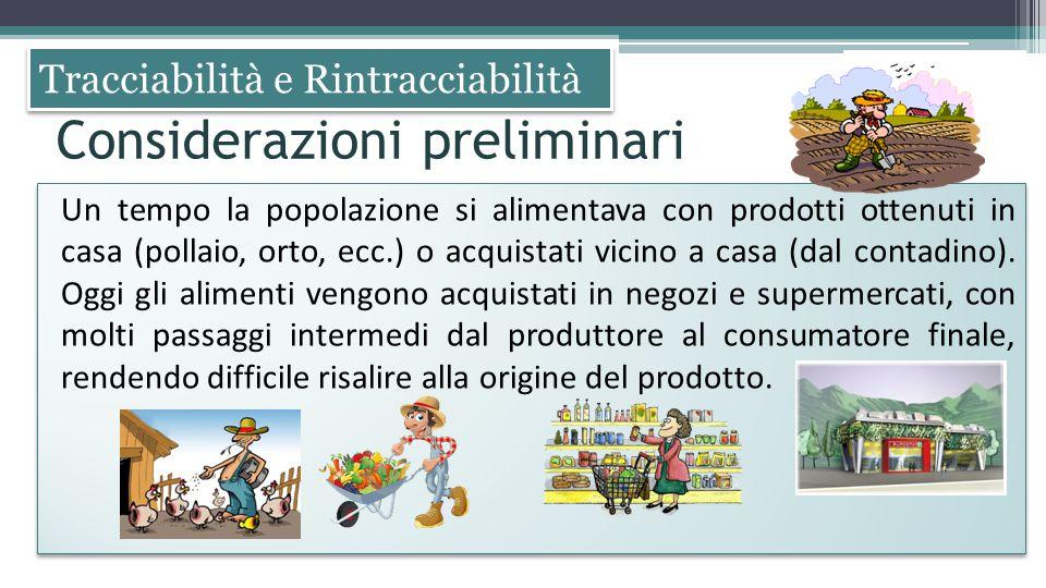 Tracciabilità e Rintracciabilità Un tempo la popolazione si alimentava con prodotti ottenuti in casa (pollaio, orto, ecc.) o acquistati vicino a casa
