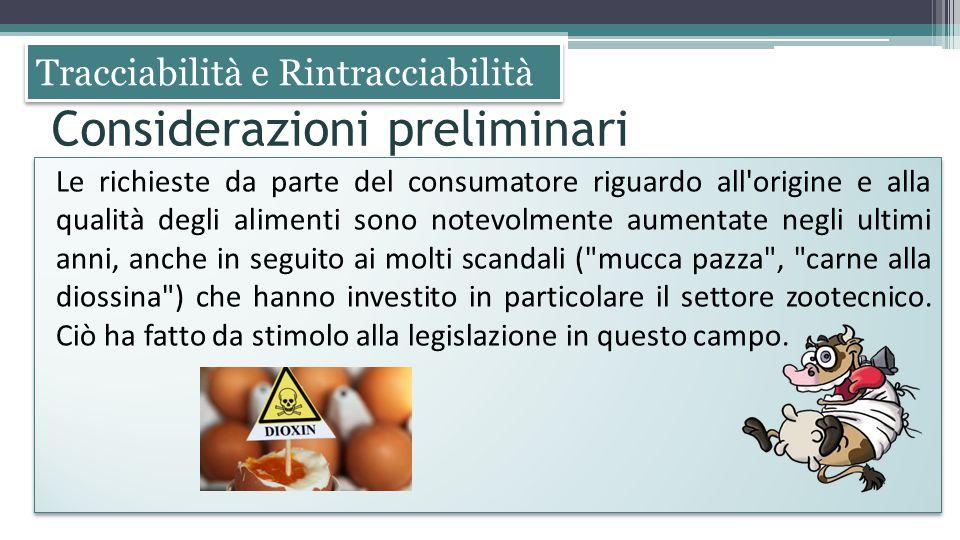 Tracciabilità e Rintracciabilità Le richieste da parte del consumatore riguardo all'origine e alla qualità degli alimenti sono notevolmente aumentate