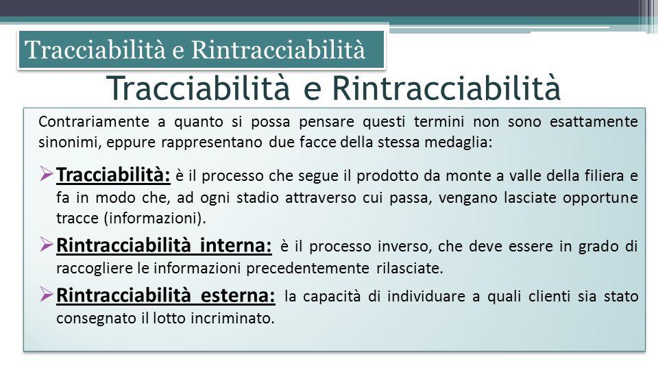 Tracciabilità e Rintracciabilità Contrariamente a quanto si possa pensare questi termini non sono esattamente sinonimi, eppure rappresentano due facce