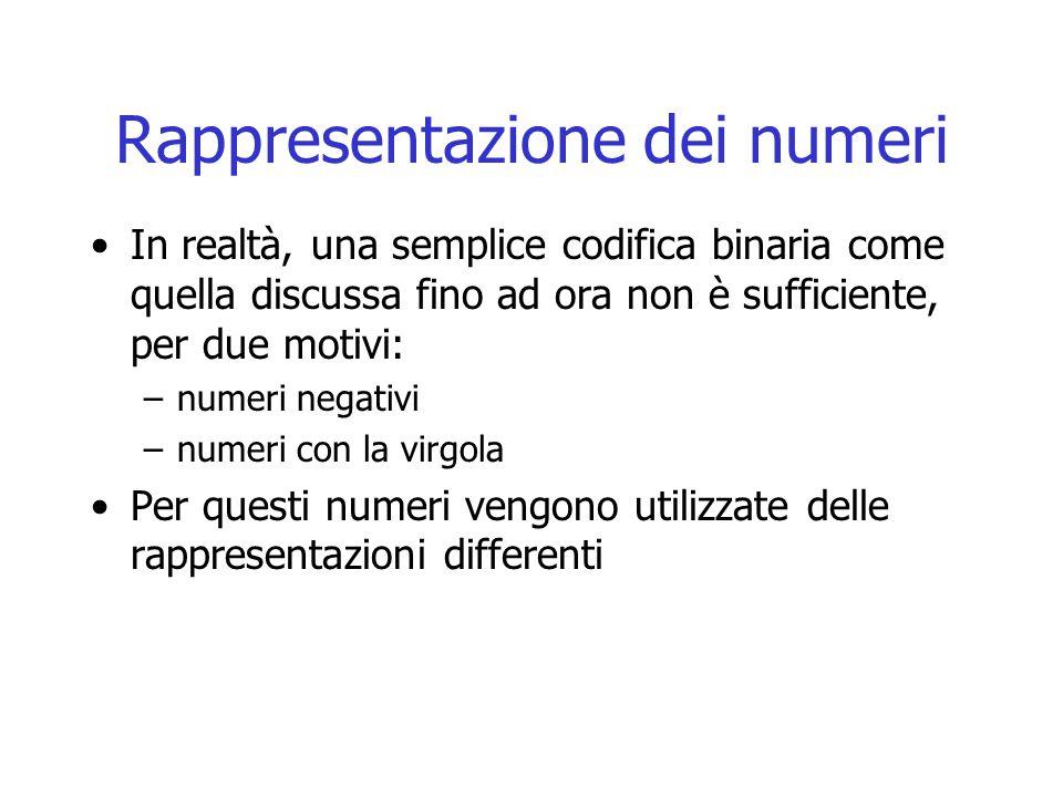 Rappresentazione dei numeri In realtà, una semplice codifica binaria come quella discussa fino ad ora non è sufficiente, per due motivi: –numeri negativi –numeri con la virgola Per questi numeri vengono utilizzate delle rappresentazioni differenti