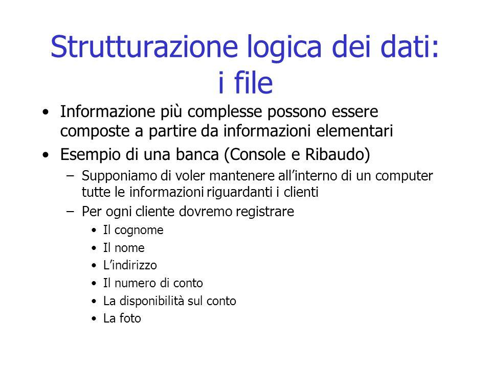 Strutturazione logica dei dati: i file Informazione più complesse possono essere composte a partire da informazioni elementari Esempio di una banca (C