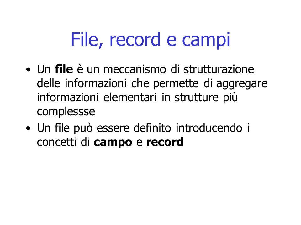 File, record e campi Un file è un meccanismo di strutturazione delle informazioni che permette di aggregare informazioni elementari in strutture più complessse Un file può essere definito introducendo i concetti di campo e record