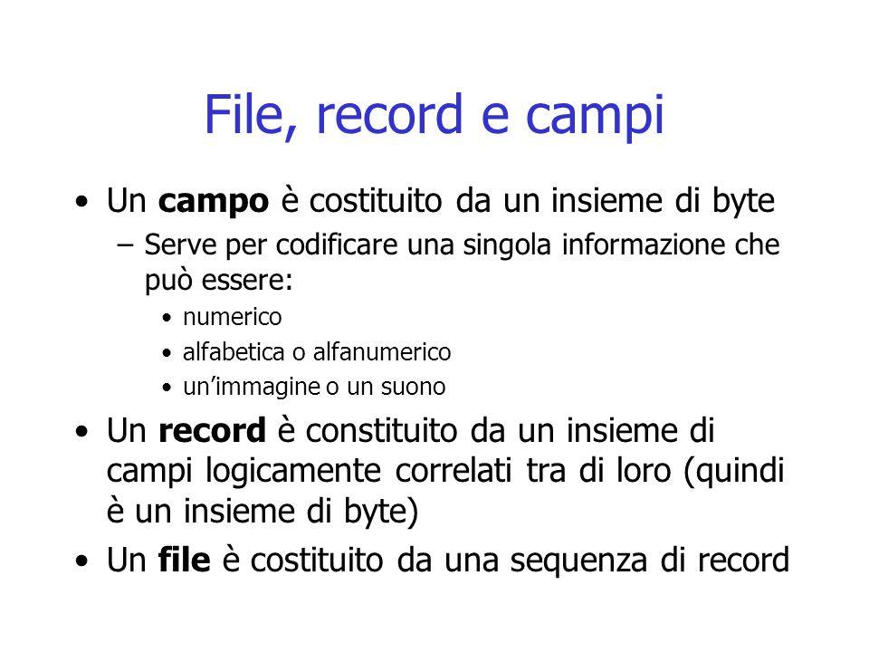 File, record e campi Un campo è costituito da un insieme di byte –Serve per codificare una singola informazione che può essere: numerico alfabetica o alfanumerico un'immagine o un suono Un record è constituito da un insieme di campi logicamente correlati tra di loro (quindi è un insieme di byte) Un file è costituito da una sequenza di record