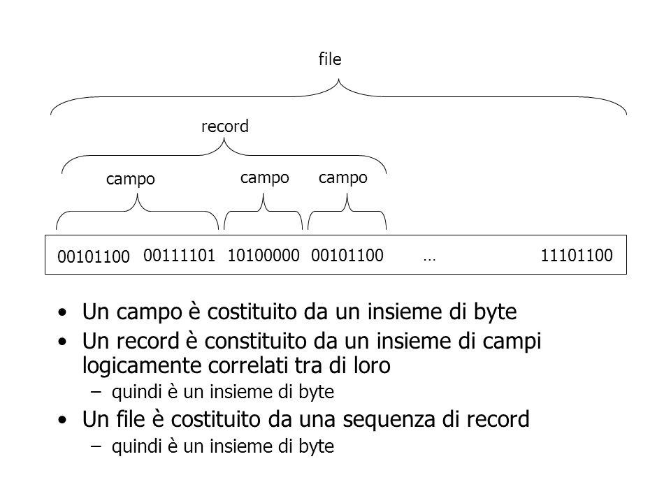 Un campo è costituito da un insieme di byte Un record è constituito da un insieme di campi logicamente correlati tra di loro –quindi è un insieme di byte Un file è costituito da una sequenza di record –quindi è un insieme di byte 00101100 00111101101000000010110011101100 … campo record file