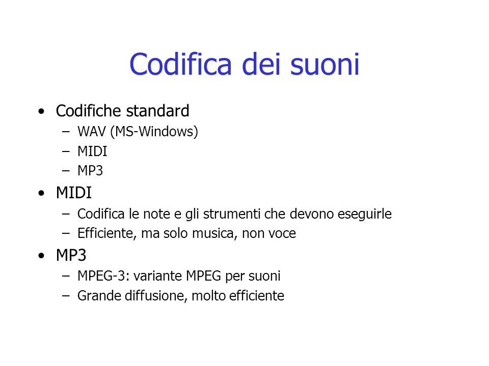 Codifica dei suoni Codifiche standard –WAV (MS-Windows) –MIDI –MP3 MIDI –Codifica le note e gli strumenti che devono eseguirle –Efficiente, ma solo musica, non voce MP3 –MPEG-3: variante MPEG per suoni –Grande diffusione, molto efficiente