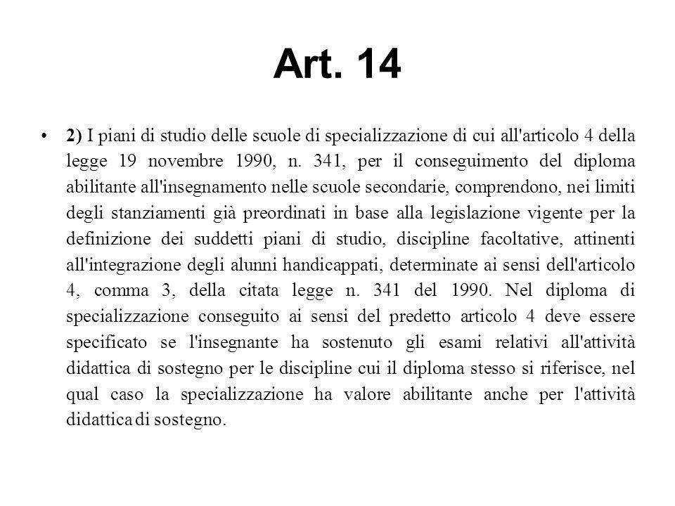 Art. 14 2) I piani di studio delle scuole di specializzazione di cui all'articolo 4 della legge 19 novembre 1990, n. 341, per il conseguimento del dip