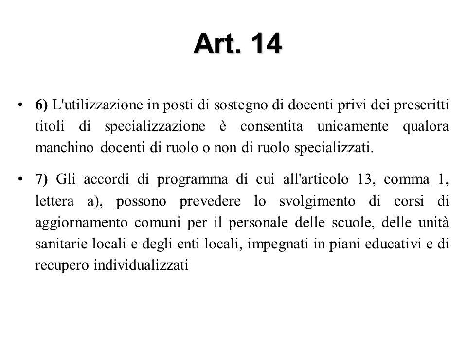 Art. 14 6) L'utilizzazione in posti di sostegno di docenti privi dei prescritti titoli di specializzazione è consentita unicamente qualora manchino do