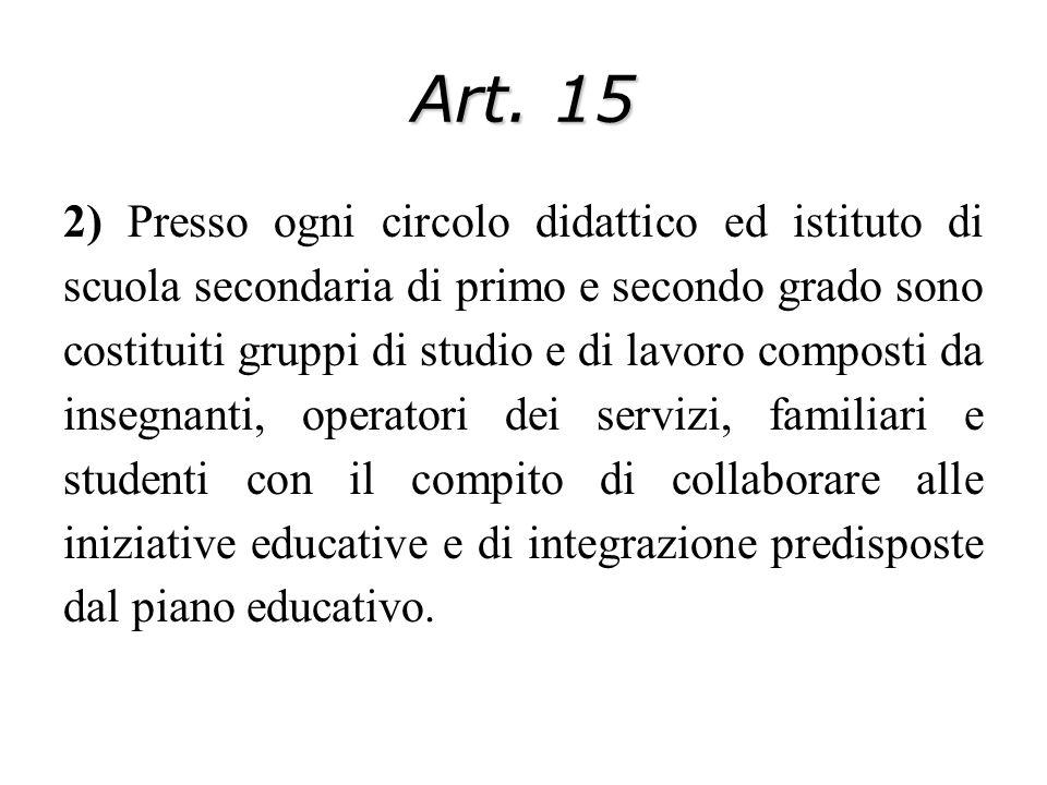Art. 15 2) Presso ogni circolo didattico ed istituto di scuola secondaria di primo e secondo grado sono costituiti gruppi di studio e di lavoro compos