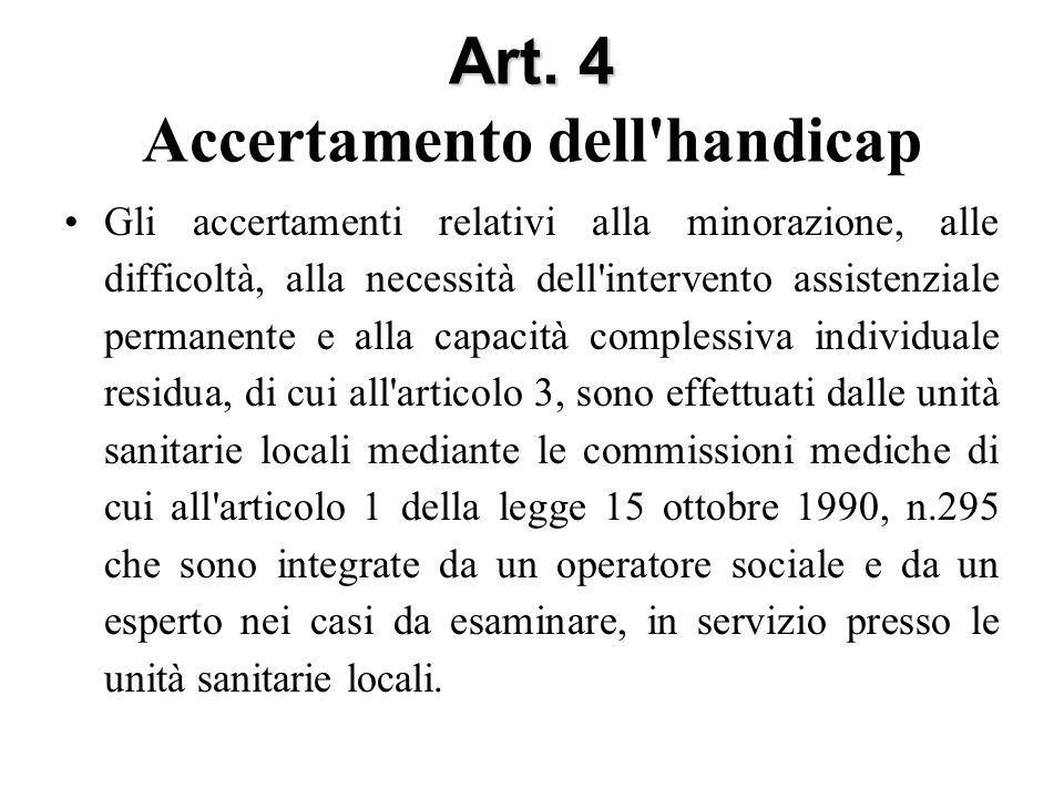 Art. 4 Art. 4 Accertamento dell'handicap Gli accertamenti relativi alla minorazione, alle difficoltà, alla necessità dell'intervento assistenziale per