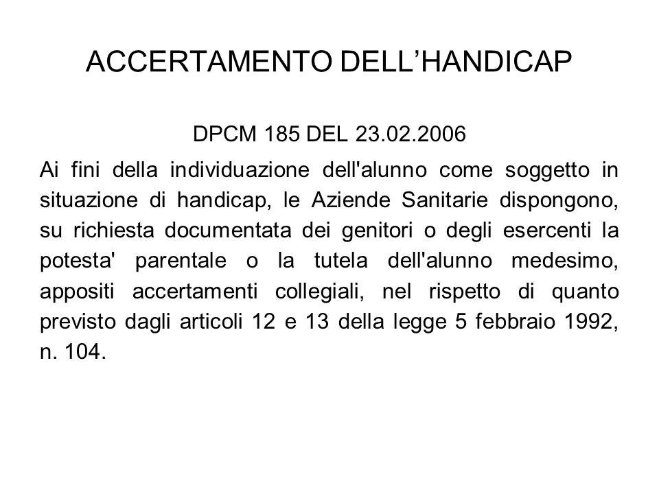 ACCERTAMENTO DELL'HANDICAP DPCM 185 DEL 23.02.2006 -da effettuarsi non oltre trenta giorni dalla ricezione della richiesta; -documentato attraverso la redazione di un verbale di individuazione dell alunno come soggetto in situazione di handicap ai sensi dell articolo 3, comma 1 della legge 5 febbraio 1992, n.
