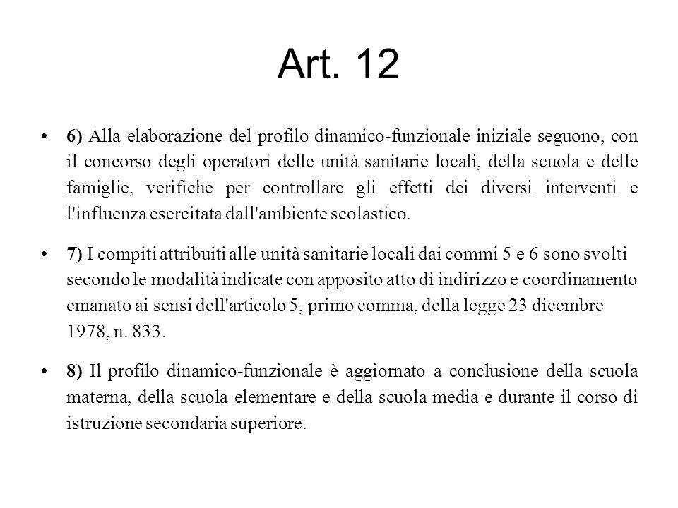 Art. 12 6) Alla elaborazione del profilo dinamico-funzionale iniziale seguono, con il concorso degli operatori delle unità sanitarie locali, della scu