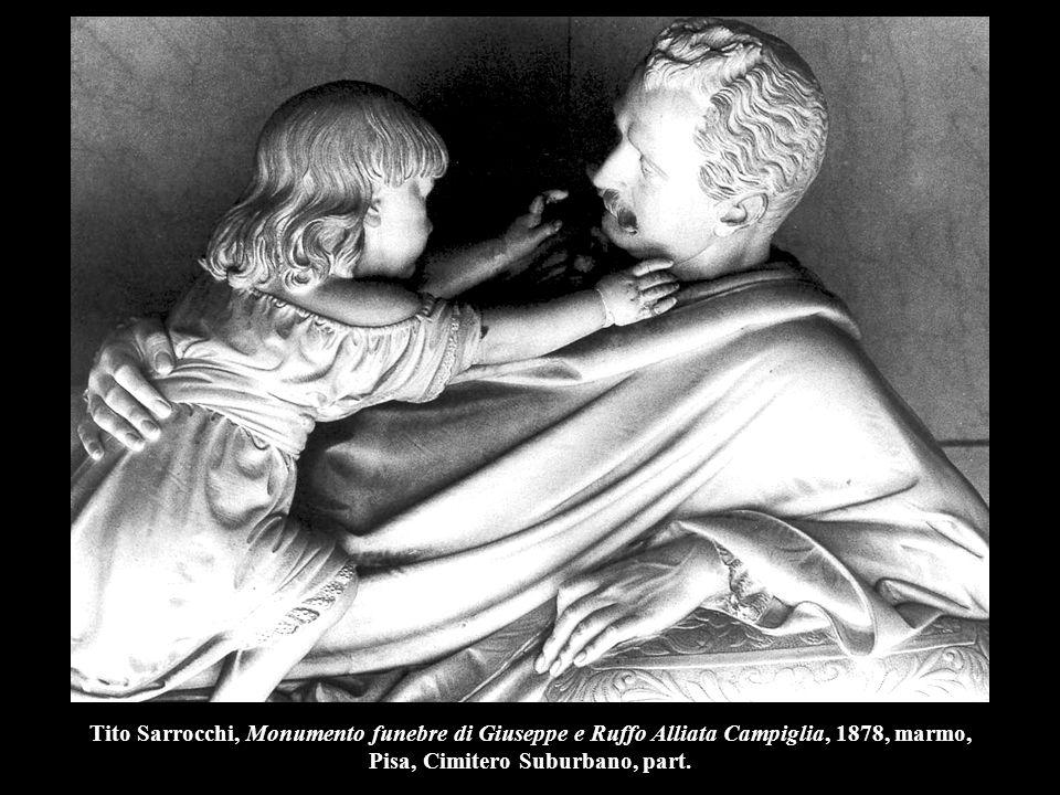 Tito Sarrocchi, Monumento funebre di Giuseppe e Ruffo Alliata Campiglia, 1878, marmo, Pisa, Cimitero Suburbano, part.