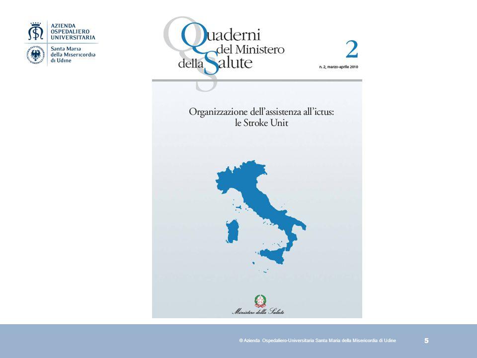 36 © Azienda Ospedaliero-Universitaria Santa Maria della Misericordia di Udine Risk factors) Centre Country All centres Hypertension Percent 56% 64% 63% Diabetes Percent 10% 16% 17% Hyperlipidaemia Percent 26% 27% 31% Current smoker Percent 20% 20% 20% Previous smoker Percent 21% 19% 16% Previous isch stroke (> 3 m) Percent 6% 8% 11% Previous isch stroke (> 3 m) Percent 0% 1% 2% Atrial fibrillation Percent 19% 21% 24% Congestive heart failiure Percent 10% 7% 8% Trombolisi e.v.