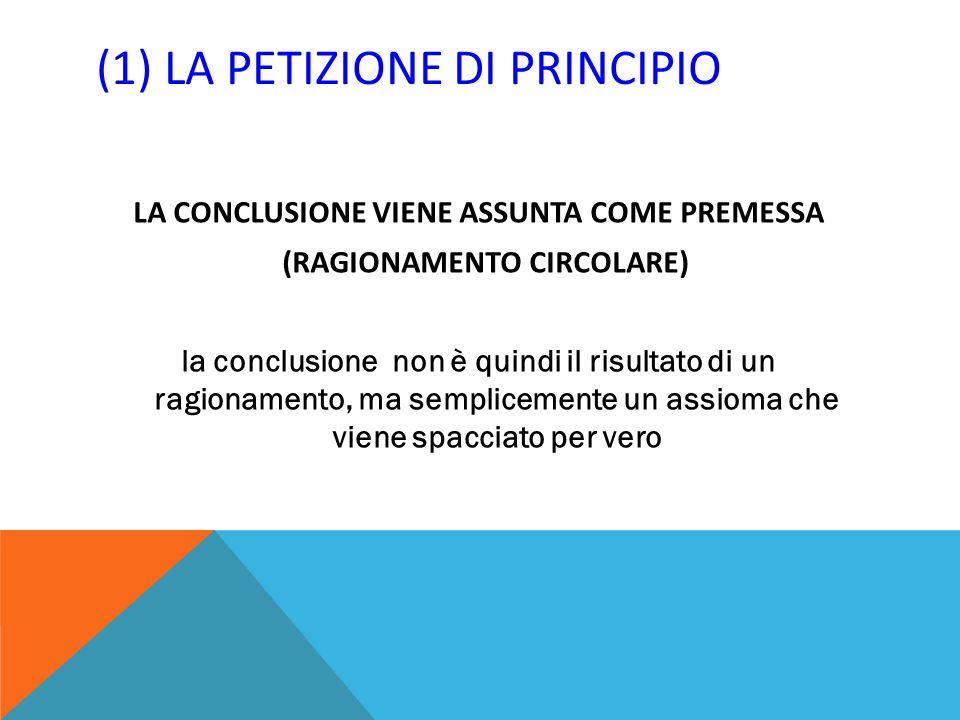 (1) LA PETIZIONE DI PRINCIPIO LA CONCLUSIONE VIENE ASSUNTA COME PREMESSA (RAGIONAMENTO CIRCOLARE) la conclusione non è quindi il risultato di un ragio