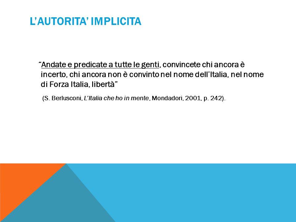 """L'AUTORITA' IMPLICITA """"Andate e predicate a tutte le genti, convincete chi ancora è incerto, chi ancora non è convinto nel nome dell'Italia, nel nome"""