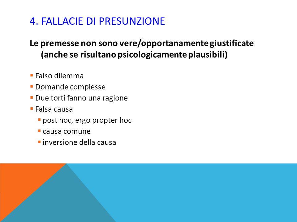 4. FALLACIE DI PRESUNZIONE Le premesse non sono vere/opportanamente giustificate (anche se risultano psicologicamente plausibili)  Falso dilemma  Do