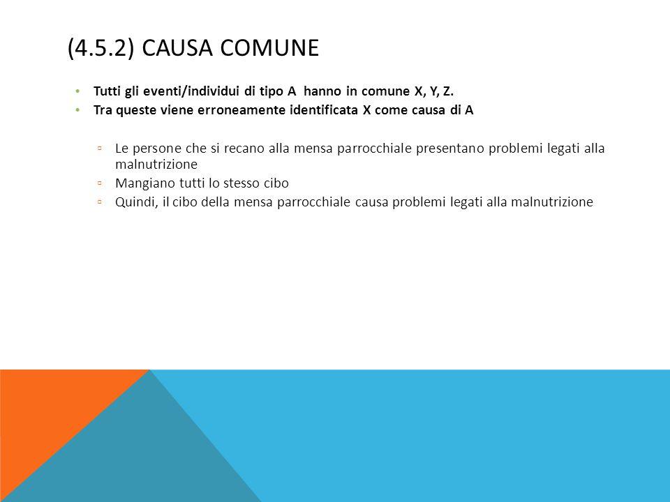 (4.5.2) CAUSA COMUNE Tutti gli eventi/individui di tipo A hanno in comune X, Y, Z. Tra queste viene erroneamente identificata X come causa di A ▫ Le p