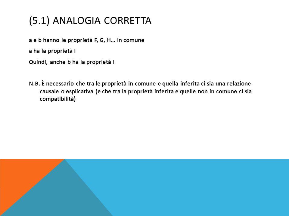 (5.1) ANALOGIA CORRETTA a e b hanno le proprietà F, G, H… in comune a ha la proprietà I Quindi, anche b ha la proprietà I N.B. È necessario che tra le