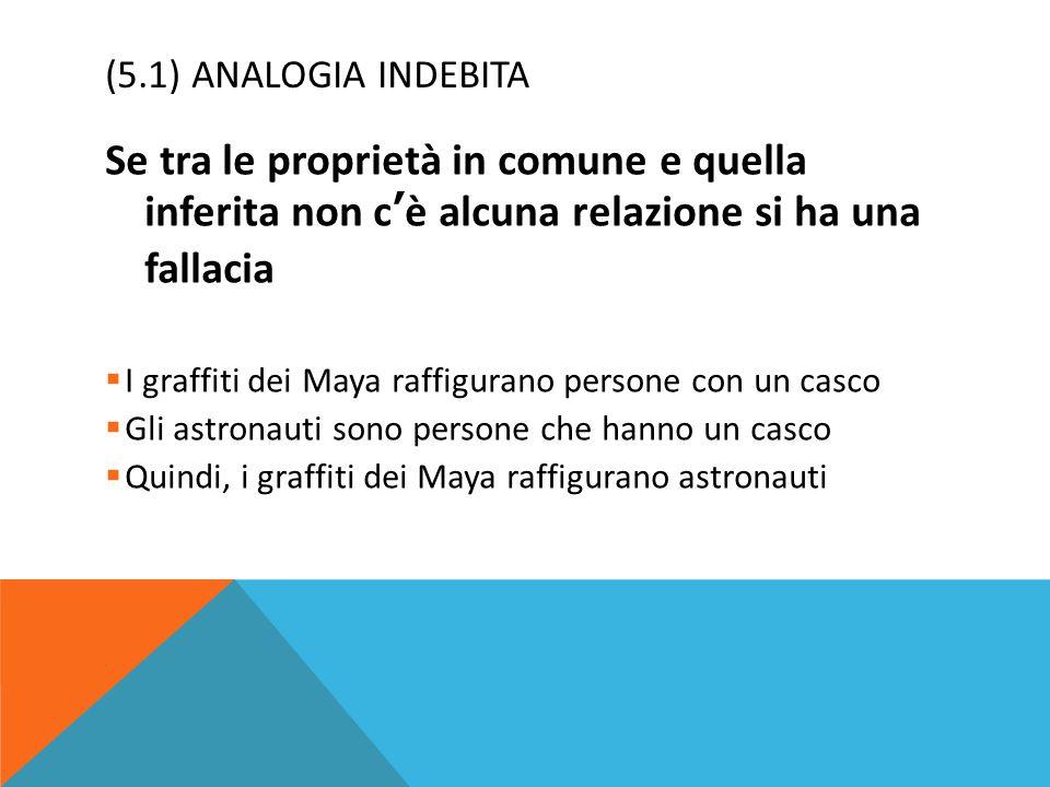 (5.1) ANALOGIA INDEBITA Se tra le proprietà in comune e quella inferita non c'è alcuna relazione si ha una fallacia  I graffiti dei Maya raffigurano