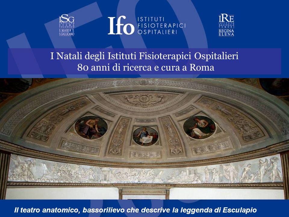 I Natali degli Istituti Fisioterapici Ospitalieri 80 anni di ricerca e cura a Roma Il teatro anatomico, bassorilievo che descrive la leggenda di Esculapio