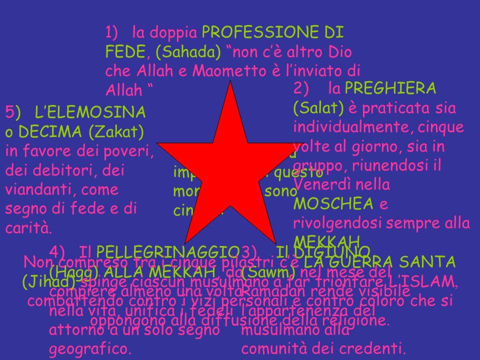 """I fondamenti più importanti di questo monoteismo sono cinque: 1) la doppia PROFESSIONE DI FEDE, (Sahada) """"non c'è altro Dio che Allah e Maometto è l'i"""