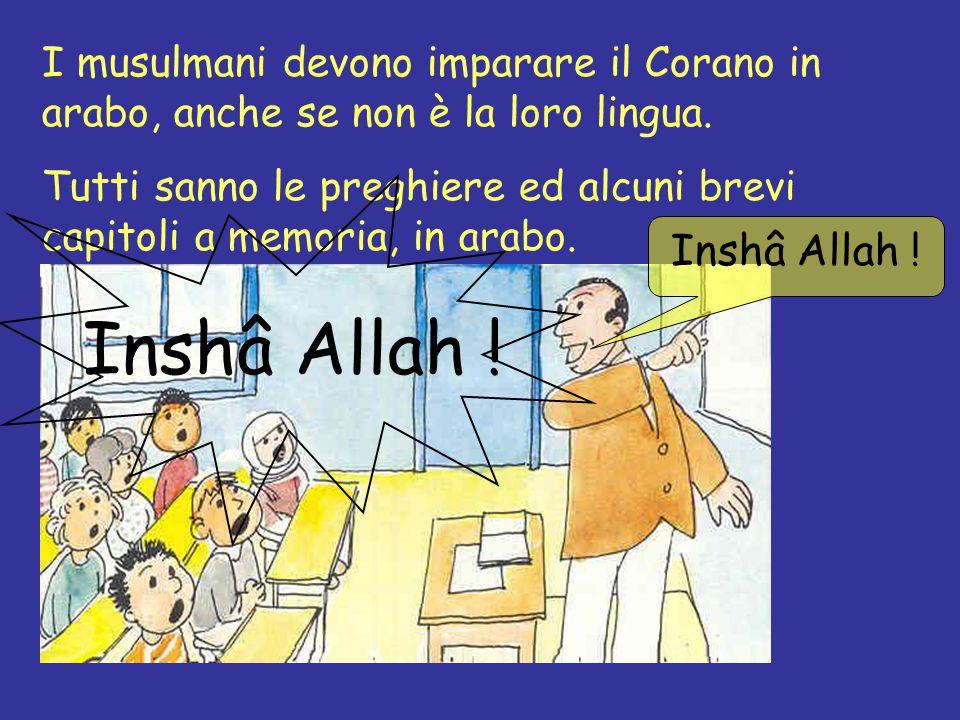 I musulmani devono imparare il Corano in arabo, anche se non è la loro lingua. Tutti sanno le preghiere ed alcuni brevi capitoli a memoria, in arabo.