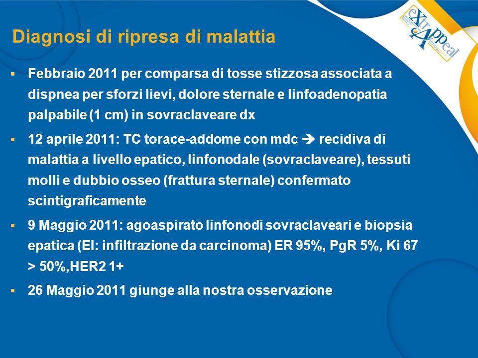 Trattamenti per la malattia metastatica  Dal 26 maggio 2011 al 25 agosto 2011: Capecitabina e Vinorelbina (5 cicli)  All' 5°ciclo di terapia incremento di dolore osseo (arto superiore destro e sterno) e viscerale (ipocondrio dx)  TC torace-addome con mdc (8 Settembre 2011): PD epatica, tessuti molli (parete toracica)  Dal 20 settembre 2011 al 24 febbraio 2012: Nab-paclitaxel (260 mg/mq D1 q21): 8 cicli regolarmente somministrati