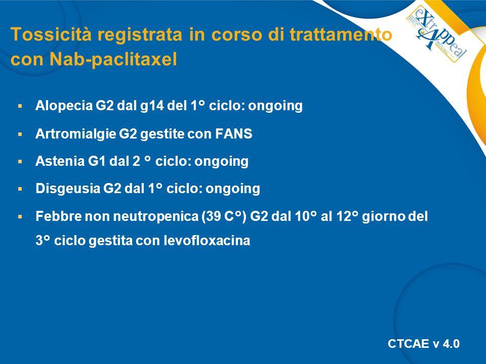 Tossicità registrata in corso di trattamento con Nab-paclitaxel  Alopecia G2 dal g14 del 1° ciclo: ongoing  Artromialgie G2 gestite con FANS  Astenia G1 dal 2 ° ciclo: ongoing  Disgeusia G2 dal 1° ciclo: ongoing  Febbre non neutropenica (39 C°) G2 dal 10° al 12° giorno del 3° ciclo gestita con levofloxacina CTCAE v 4.0