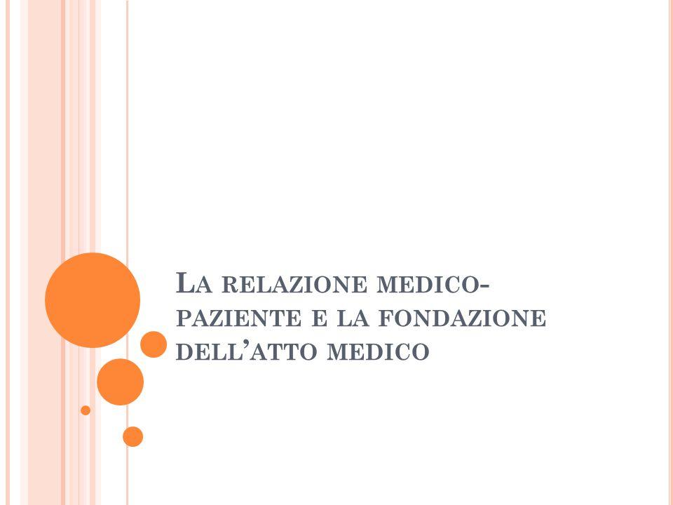 L A RELAZIONE MEDICO - PAZIENTE E LA FONDAZIONE DELL ' ATTO MEDICO