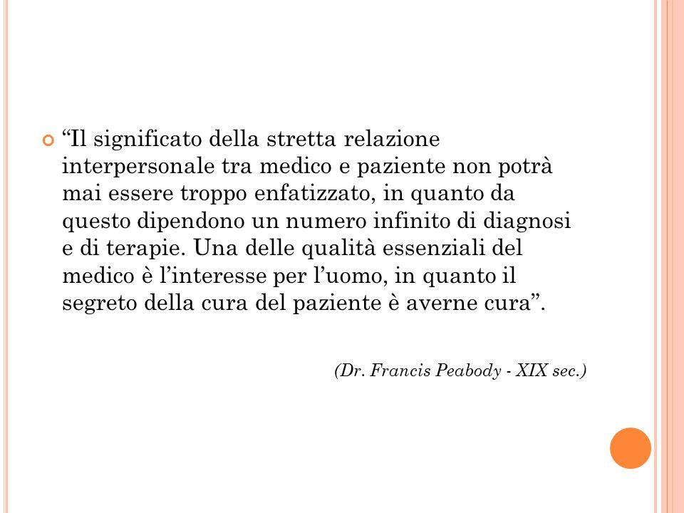 """""""Il significato della stretta relazione interpersonale tra medico e paziente non potrà mai essere troppo enfatizzato, in quanto da questo dipendono un"""