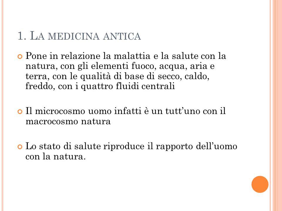 1. L A MEDICINA ANTICA Pone in relazione la malattia e la salute con la natura, con gli elementi fuoco, acqua, aria e terra, con le qualità di base di