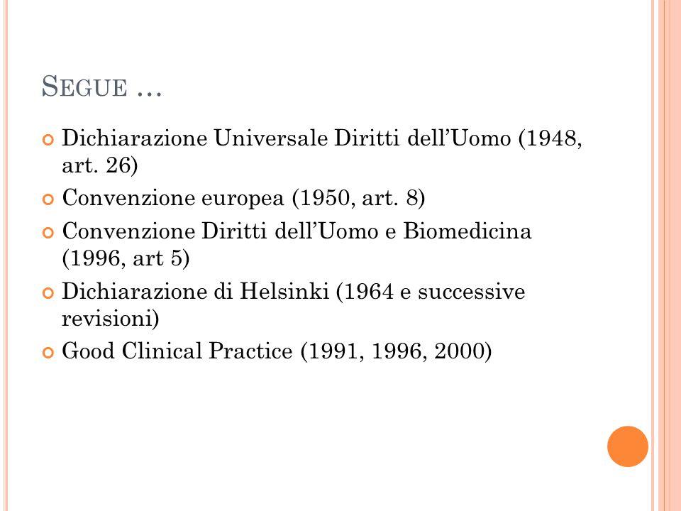 S EGUE … Dichiarazione Universale Diritti dell'Uomo (1948, art. 26) Convenzione europea (1950, art. 8) Convenzione Diritti dell'Uomo e Biomedicina (19