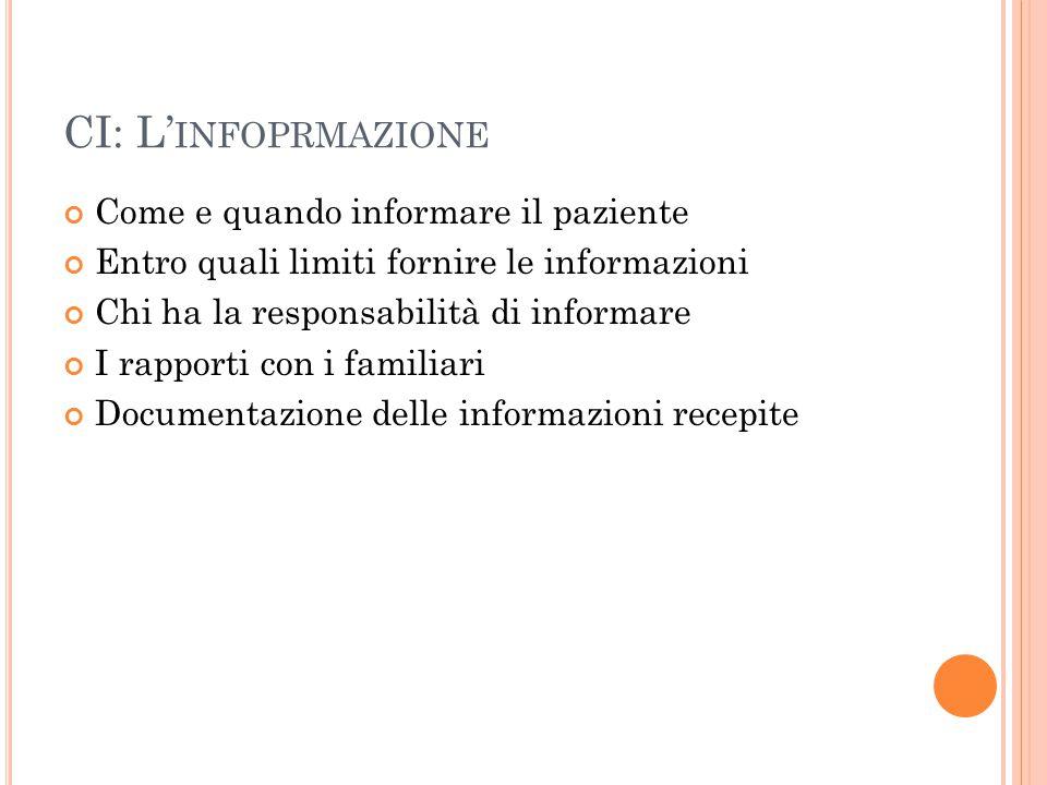 CI: L' INFOPRMAZIONE Come e quando informare il paziente Entro quali limiti fornire le informazioni Chi ha la responsabilità di informare I rapporti c