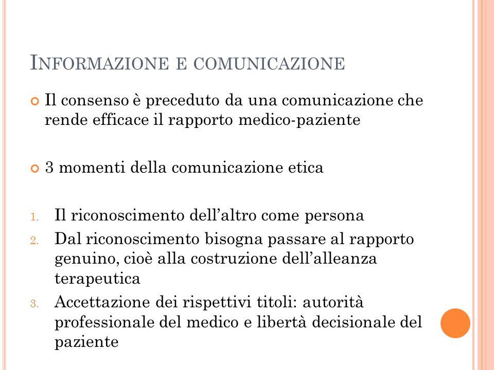 I NFORMAZIONE E COMUNICAZIONE Il consenso è preceduto da una comunicazione che rende efficace il rapporto medico-paziente 3 momenti della comunicazion