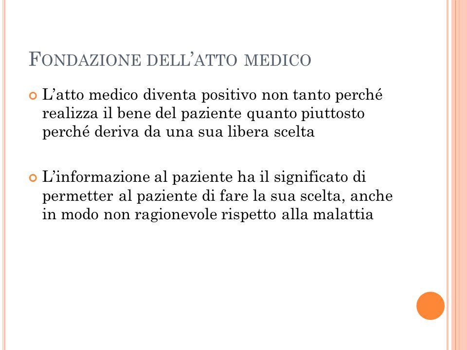 F ONDAZIONE DELL ' ATTO MEDICO L'atto medico diventa positivo non tanto perché realizza il bene del paziente quanto piuttosto perché deriva da una sua