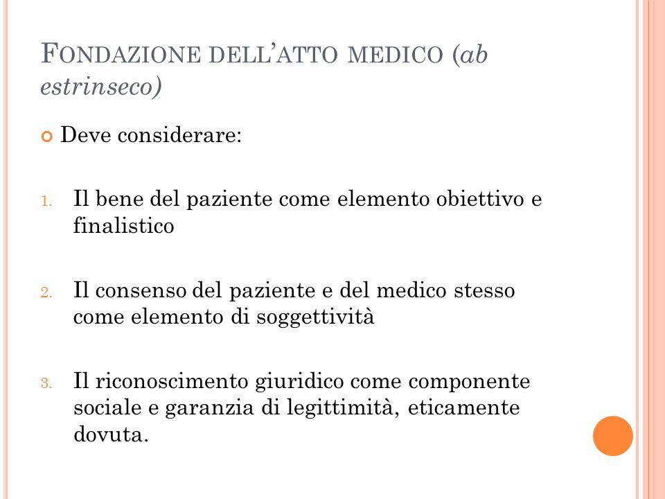 F ONDAZIONE DELL ' ATTO MEDICO ( ab estrinseco) Deve considerare: 1. Il bene del paziente come elemento obiettivo e finalistico 2. Il consenso del paz