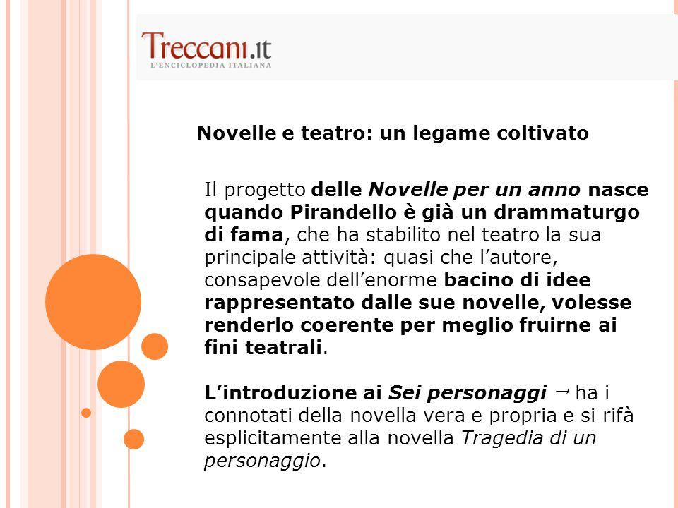 Il progetto delle Novelle per un anno nasce quando Pirandello è già un drammaturgo di fama, che ha stabilito nel teatro la sua principale attività: quasi che l'autore, consapevole dell'enorme bacino di idee rappresentato dalle sue novelle, volesse renderlo coerente per meglio fruirne ai fini teatrali.