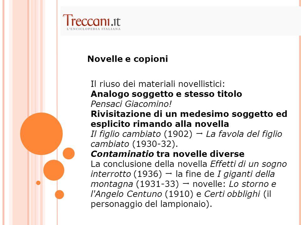 Il riuso dei materiali novellistici: Analogo soggetto e stesso titolo Pensaci Giacomino.