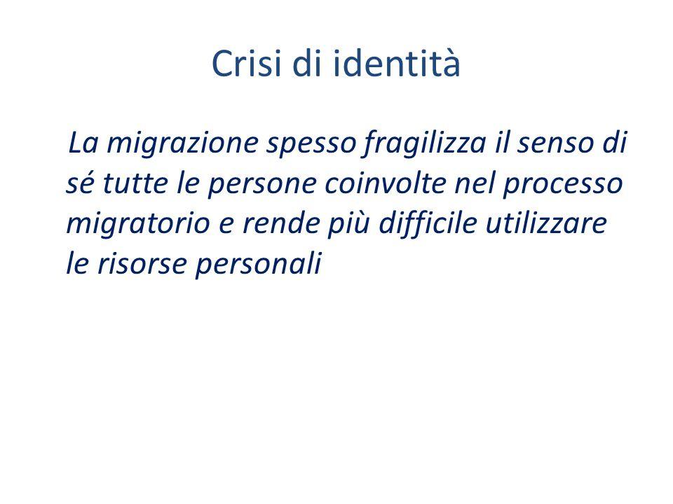 Crisi di identità La migrazione spesso fragilizza il senso di sé tutte le persone coinvolte nel processo migratorio e rende più difficile utilizzare le risorse personali