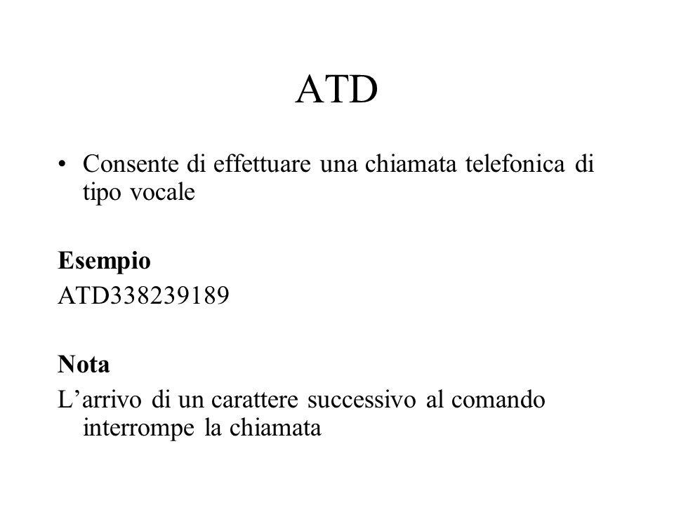 ATD Consente di effettuare una chiamata telefonica di tipo vocale Esempio ATD338239189 Nota L'arrivo di un carattere successivo al comando interrompe