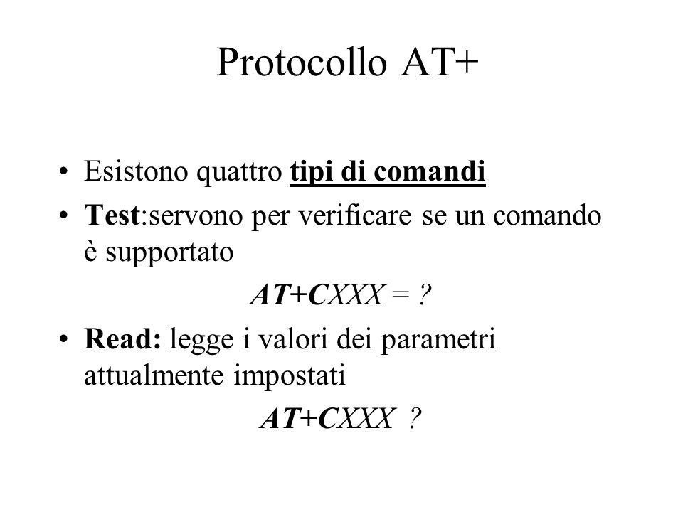 Protocollo AT+ Esistono quattro tipi di comandi Test:servono per verificare se un comando è supportato AT+CXXX = ? Read: legge i valori dei parametri
