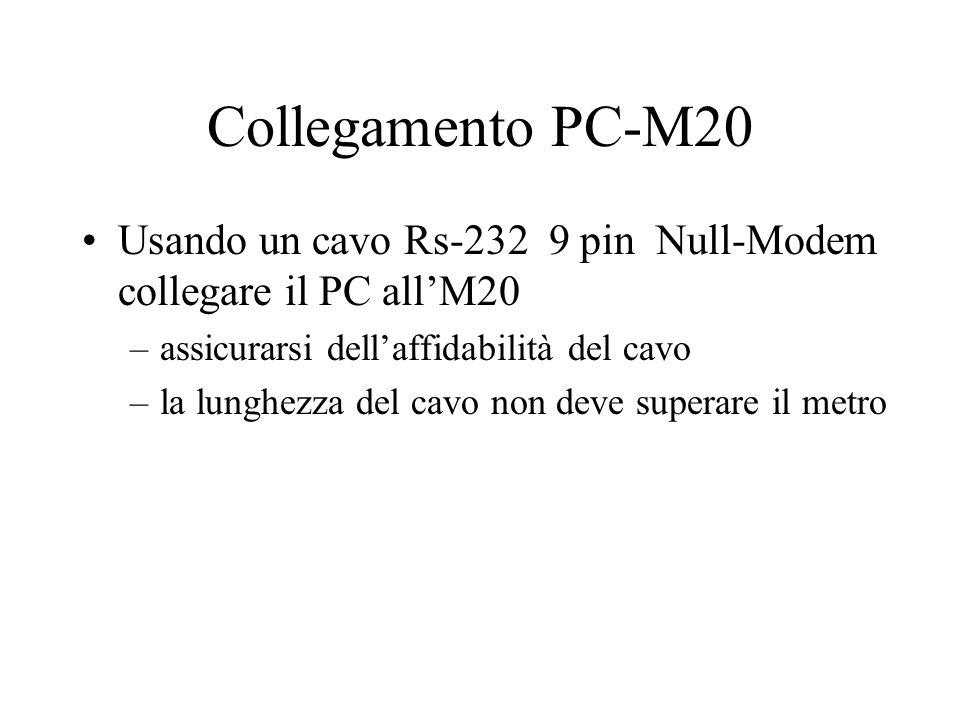 Collegamento PC-M20 Usando un cavo Rs-232 9 pin Null-Modem collegare il PC all'M20 –assicurarsi dell'affidabilità del cavo –la lunghezza del cavo non