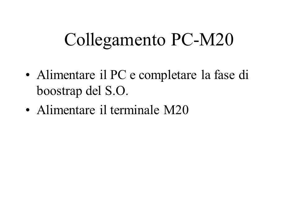 Collegamento PC-M20 Alimentare il PC e completare la fase di boostrap del S.O. Alimentare il terminale M20