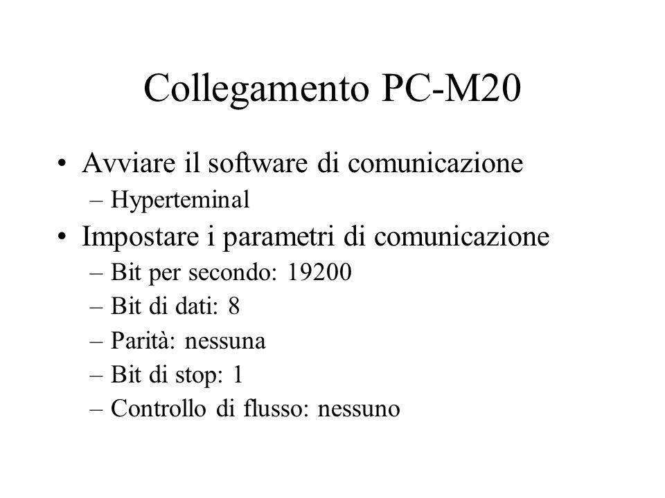 Collegamento PC-M20 Avviare il software di comunicazione –Hyperteminal Impostare i parametri di comunicazione –Bit per secondo: 19200 –Bit di dati: 8