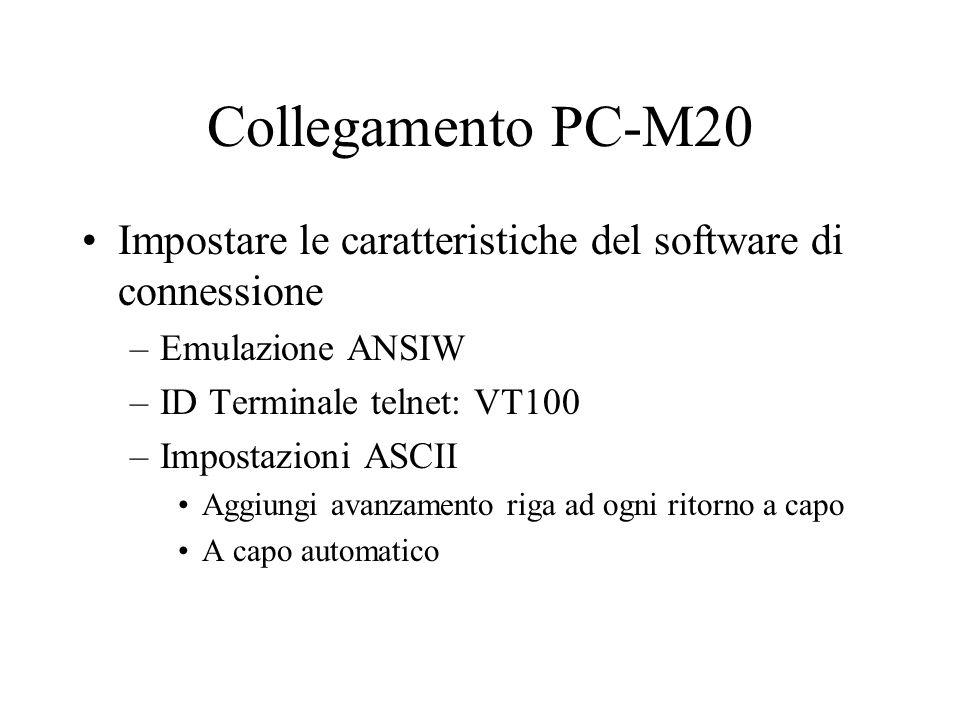 Collegamento PC-M20 Impostare le caratteristiche del software di connessione –Emulazione ANSIW –ID Terminale telnet: VT100 –Impostazioni ASCII Aggiung