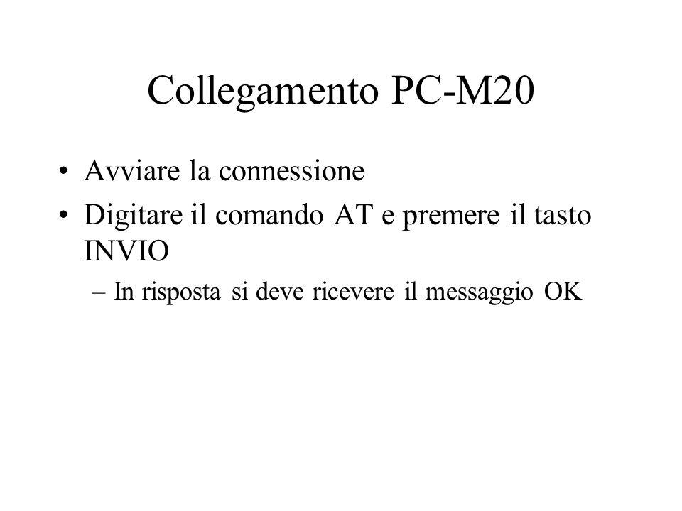 Collegamento PC-M20 Avviare la connessione Digitare il comando AT e premere il tasto INVIO –In risposta si deve ricevere il messaggio OK