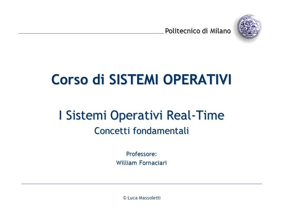 I Sistemi Operativi Real-Time© Luca Massoletti- 42 - Algoritmi di scheduling: Rate monotonic E un metodo a priorità fissa usato quando i processi sono caratterizzati da: Esecuzione periodica con periodo Ti.
