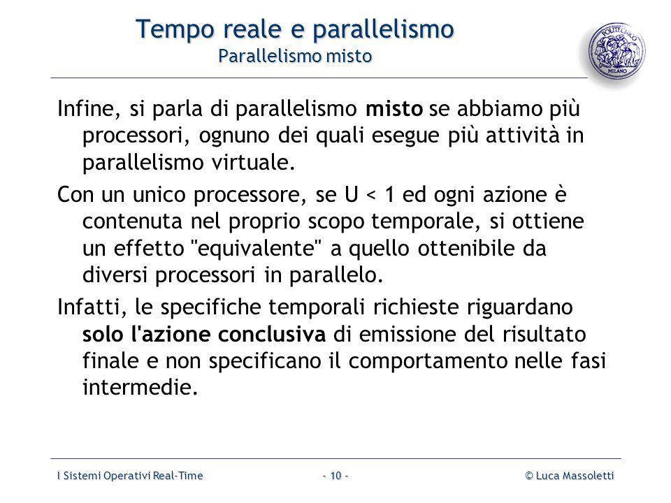 I Sistemi Operativi Real-Time© Luca Massoletti- 10 - Tempo reale e parallelismo Parallelismo misto Infine, si parla di parallelismo misto se abbiamo p
