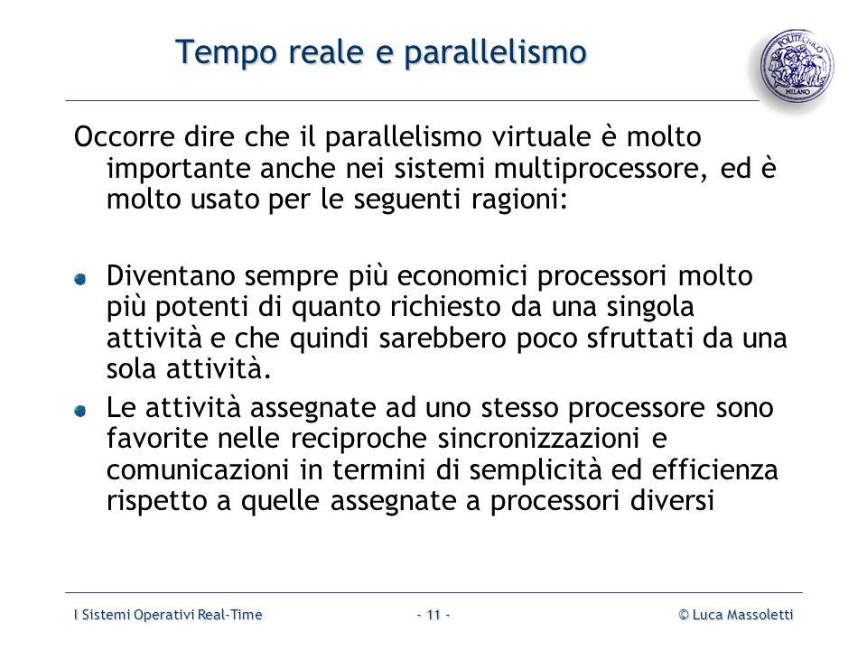 I Sistemi Operativi Real-Time© Luca Massoletti- 11 - Tempo reale e parallelismo Occorre dire che il parallelismo virtuale è molto importante anche nei