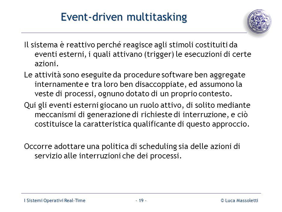 I Sistemi Operativi Real-Time© Luca Massoletti- 19 - Event-driven multitasking Il sistema è reattivo perché reagisce agli stimoli costituiti da eventi